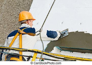 facciata, otturazione, lavori in corso, surfacer