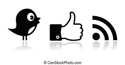 facebook, cinguettio, nero, lucido, rss
