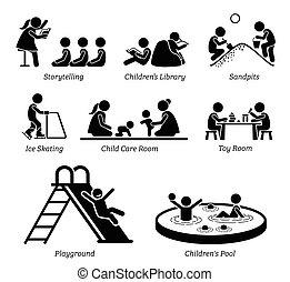 facilità, ricreativo, activities., bambini