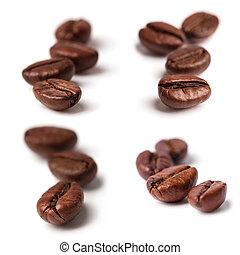 fagioli caffè, bianco, isolato