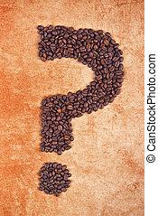 fagioli, caffè, fatto, punto interrogativo