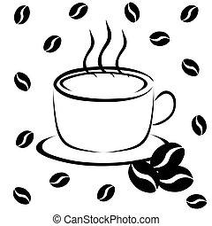 fagioli caffè, tazza
