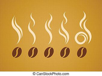 fagioli, vapore, set, vettore, caffè