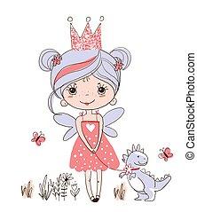 fairytale, isolato, drago, colorare, schizzo, corona, o, ali, fata, poco, bianco, camminare, vettore, ragazza, illustrazione, fondo, carino, rosa, dinosaur., dress., principessa