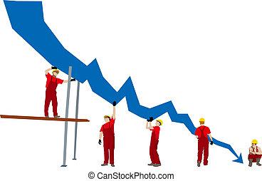 fallimento, affari, depressione, grafico