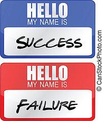 fallimento, etichette, successo, nome