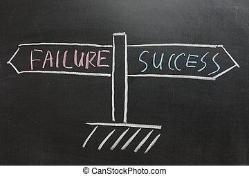 fallimento, strada, successo, segno