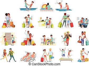 famiglia, bagaglio, set, coppia, persone, vacanza, vettore, viaggiare, fondo, illustrazioni, bianco