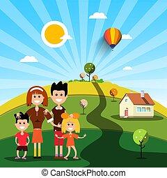 famiglia, casa, soleggiato, campo, giorno, felice