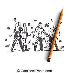 famiglia, disegnato, concept., mano, parco, autunno, albero, isolato, vector., persone