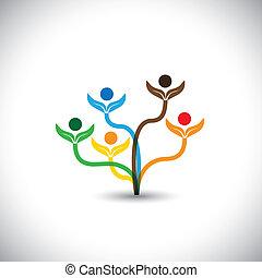 famiglia, eco, -, concept., albero, vettore, lavoro squadra, icona