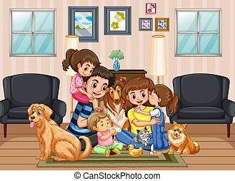 famiglia felice, casa
