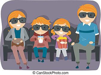 famiglia, film guarda, 4d, o, 3d