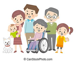 famiglia, illustrazione, three-generation