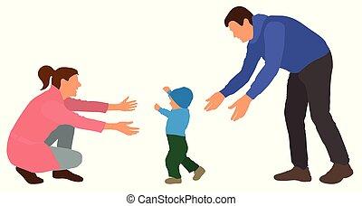 famiglia, illustrazione, vettore, mom., va, bambino, steps., evento, primo