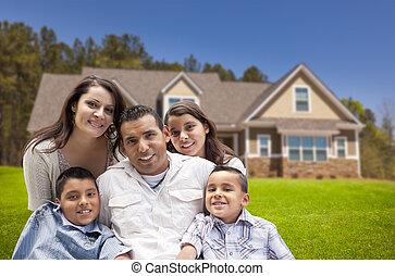 famiglia, ispanico, giovane, loro, nuovo, fronte, casa