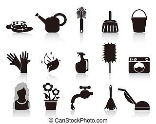 famiglia, nero, icone
