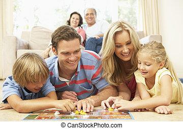 famiglia, osservare, nonni, asse gioco, casa, gioco