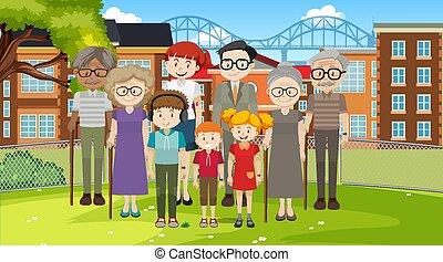 famiglia, parco, scena, membro, esterno