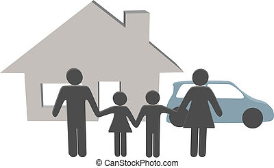 famiglia, persone, casa, simboli, automobile, casa