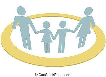 famiglia, persone, dentro, sicuro, sicurezza, cerchio, anello