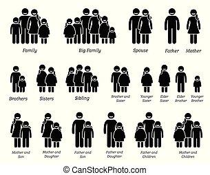 famiglia, persone, icons.