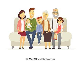 famiglia, persone, -, isolato, illustrazione, caratteri, cartone animato, felice