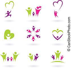 famiglia, persone, (, p, relazione, icona, collezione, rosa, verde