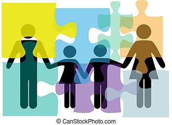 famiglia, persone, puzzle, soluzione, salute, servizi, problema