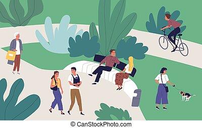 famiglia, piccolo, illustration., ricreativo, spendere, appartamento, tempo, insieme, camminare, urbano, vettore, attività, bicicletta, rilassato, sentiero per cavalcate, godere, coppia, parco, donna, estate, parlare, uomo, esterno, persone