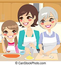 famiglia, preparare, casalingo, pizza