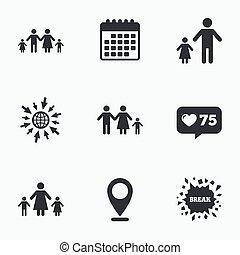 famiglia, segno., due, genitori, bambini, kids.