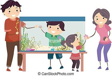 famiglia, stickman, decorare, illustrazione, acquario