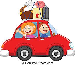 famiglia, viaggiare, cartone animato, automobile