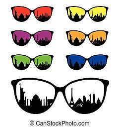 famoso, antico, occhiali da sole, illustrazione, monumento