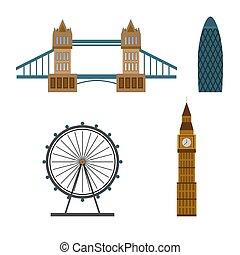 famoso, appartamento, vettore, città, costruzione., londra, icons., collezione, regno, style., unito, illustrazione
