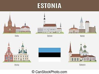 famoso, città, estone, locali