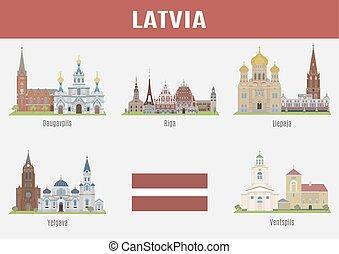 famoso, città, locali, lettonia