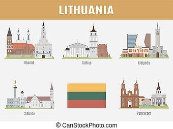 famoso, città, locali, lituano