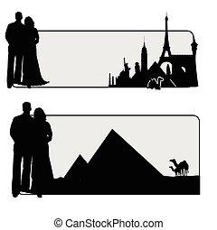 famoso, coppia, illustrazione, monumento