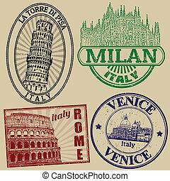 famoso, francobolli, città, italiano