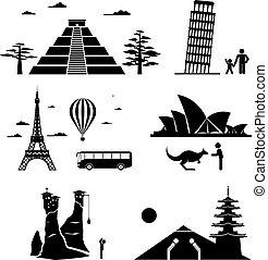 famoso, icone, monumenti, viaggiare