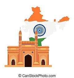 famoso, monumento, india, ingresso, mappa