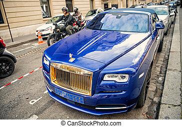 famoso, parcheggiato, oro, fantasma, lusso, royce, in crosta, colore automobile, rolls-royce, strada, automobile blu, paris., marca, supercar, costoso