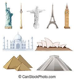 famoso, set, intorno, mondo, monumento