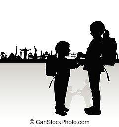 famoso, silhouette, bambini, illustrazione, monumento