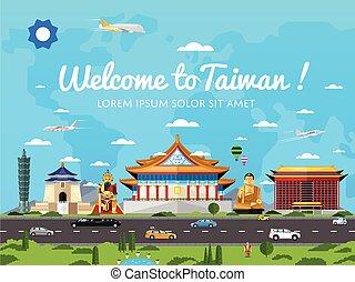 famoso, taiwan, benvenuto, attrazioni, manifesto
