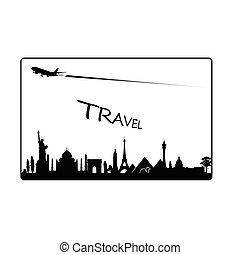 famoso, viaggiare, monumento, illustrazione, paradiso