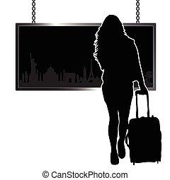 famoso, viaggiare, ragazza, illustrazione, monumento