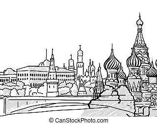 famoso, viaggiare, russia, schizzo, mosca